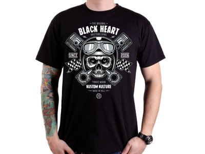 Triko BLACK HEART Piston Skull